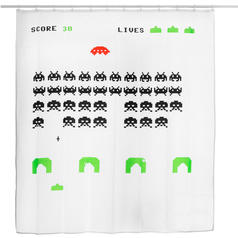 Pixel Alien Shower Curtain